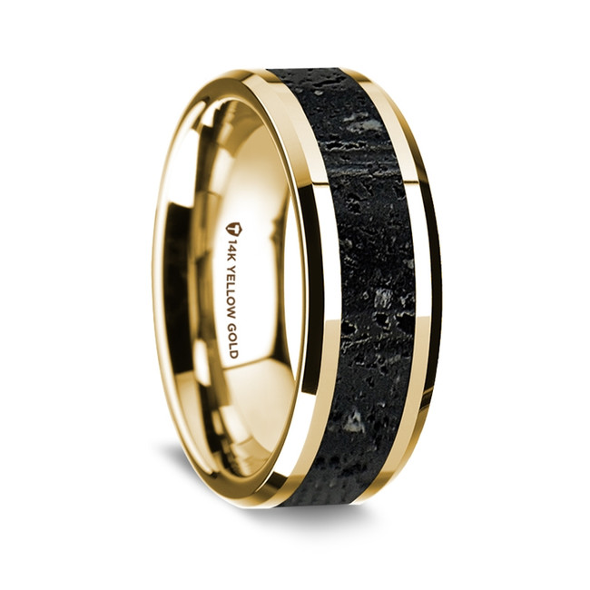 Archestratus Polished 14K Yellow Gold Wedding Band with Lava Inlay from Vansweden Jewelers