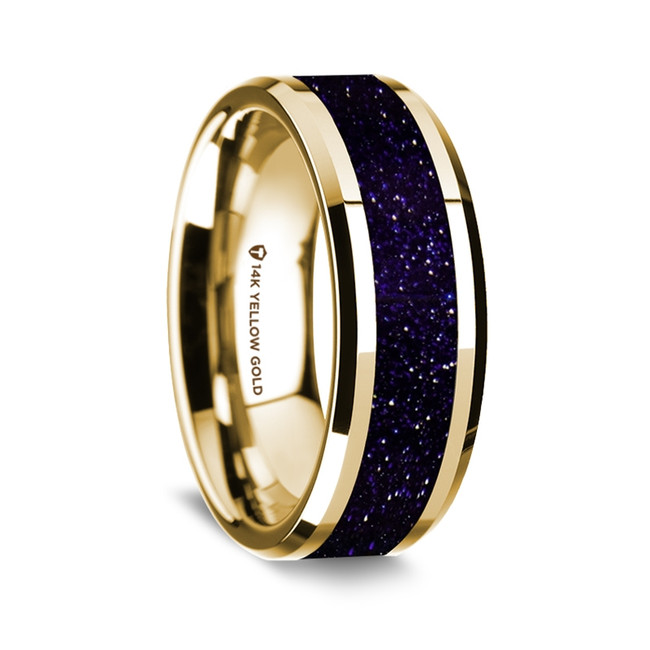 Aeneas Polished 14K Yellow Gold Wedding Band with Purple Goldstone Inlay from Vansweden Jewelers