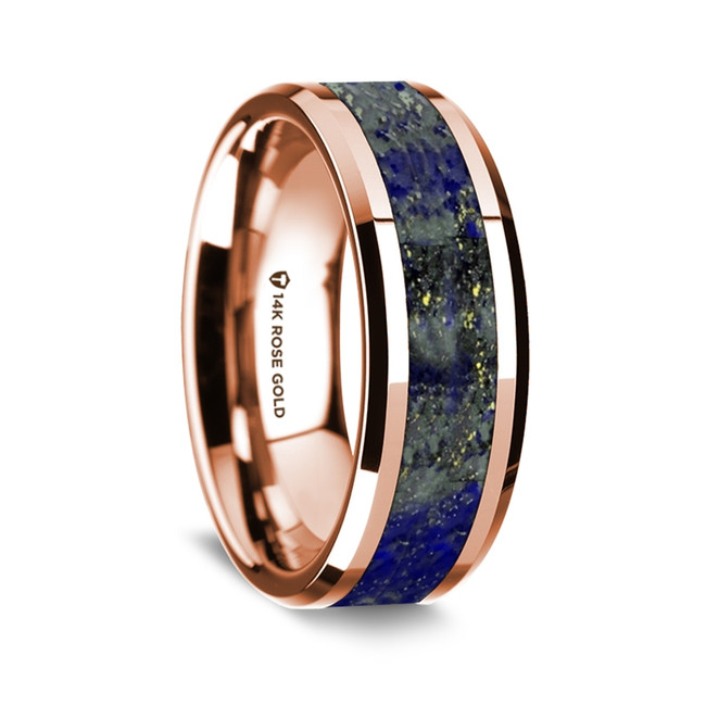 Callisto Polished 14k Rose Gold Wedding Band with Lapis Lazuli Inlay from Vansweden Jewelers