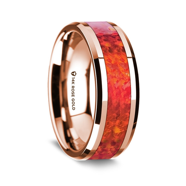 Procles Polished 14K Rose Gold Wedding Band with Red Opal Inlay from Vansweden Jewelers