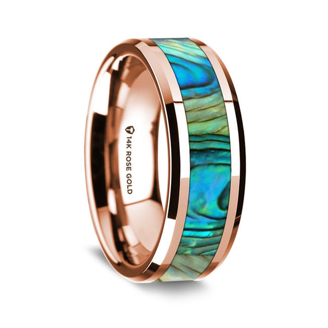 Cleobis Polished 14K Rose Gold Wedding Band with Mother of Pearl Inlay from Vansweden Jewelers