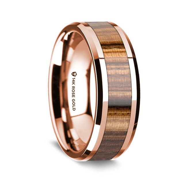 Meno Polished 14K Rose Gold Wedding Band with Zebra Wood Inlay from Vansweden Jewelers