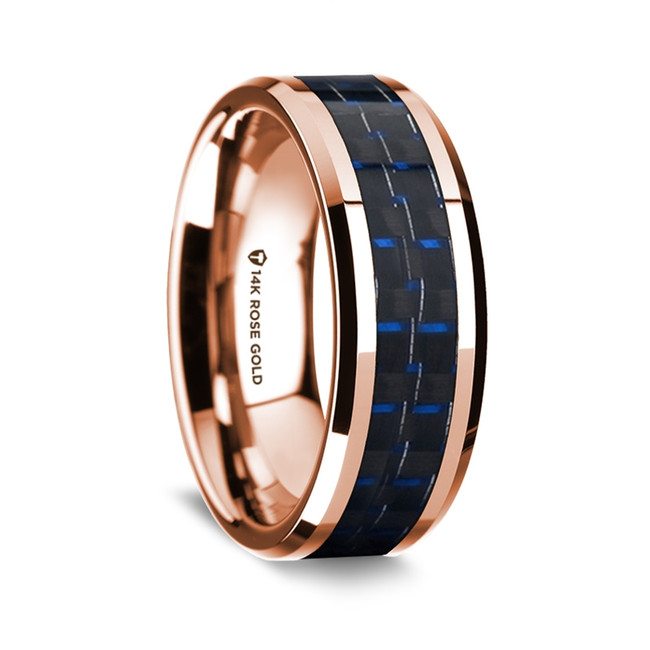 Heliodurus Polished 14K Rose Gold Wedding Band with Black & Dark Blue Carbon Fiber Inlay from Vansweden Jewelers