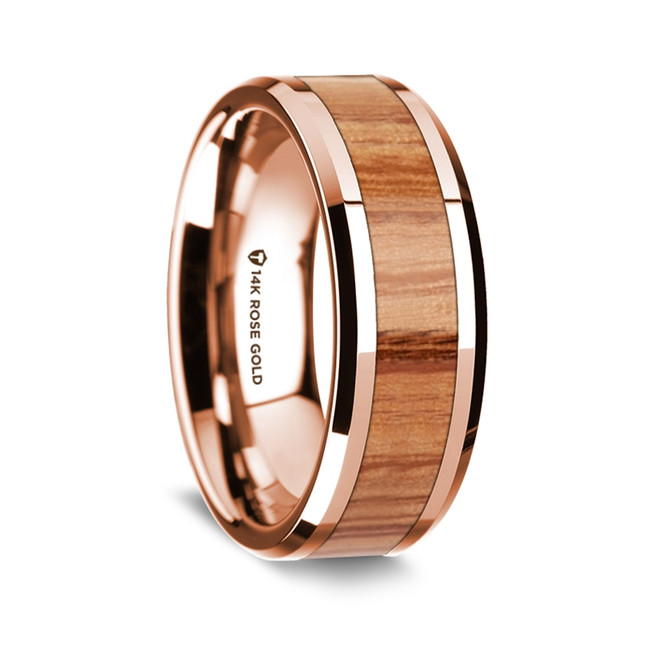 Pisistratus Polished 14K Rose Gold Wedding Band with Red Oak Wood Inlay from Vansweden Jewelers