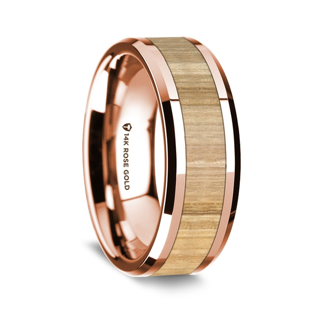 Harpalus Polished 14K Rose Gold Wedding Band with Ash Wood Inlay from Vansweden Jewelers