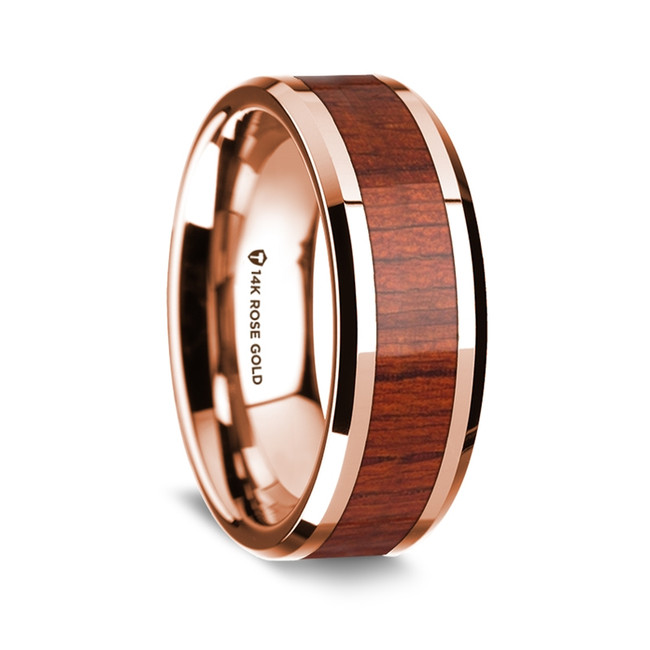 Maximus Polished 14K Rose Gold Wedding Band with Padauk Inlay from Vansweden Jewelers