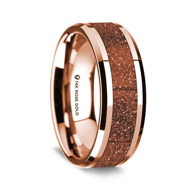 Lamprocles Polished 14K Rose Gold Wedding Band with Orange Goldstone Inlay from Vansweden Jewelers