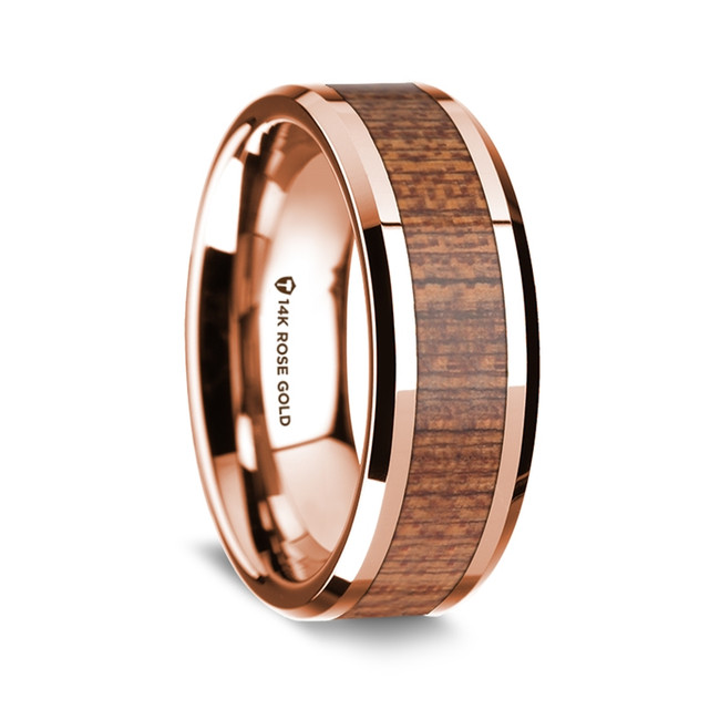 Euangelus Polished 14K Rose Gold Wedding Band with Sapele Inlay from Vansweden Jewelers