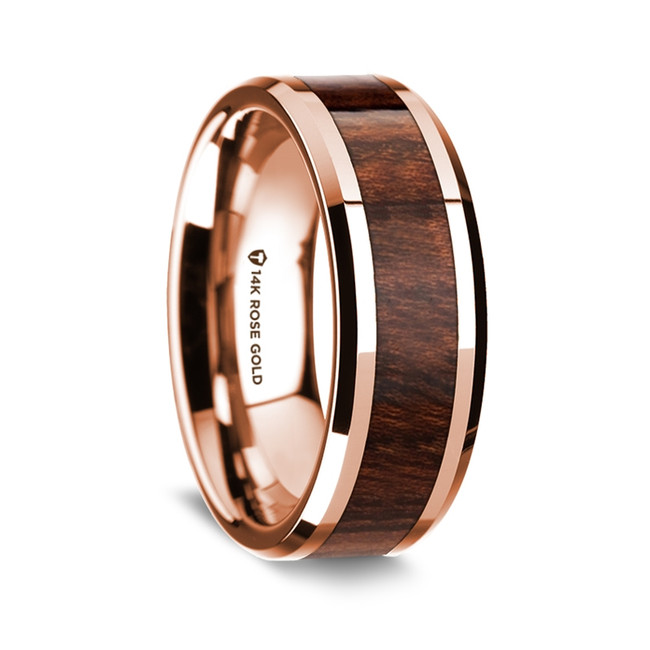 Lycurgus Polished 14K Rose Gold Wedding Band with Carpathian Inlay from Vansweden Jewelers