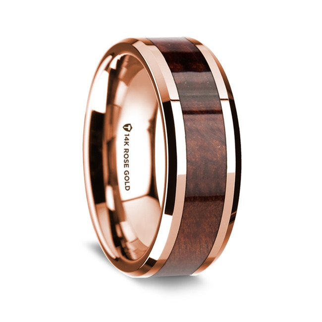 Chabrias Polished 14K Rose Gold Wedding Band with Redwood Inlay from Vansweden Jewelers