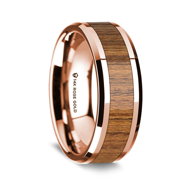 Fate Polished 14K Rose Gold Wedding Band with Teakwood Inlay from Vansweden Jewelers