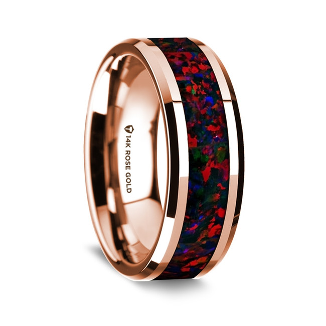Aglauros Polished 14K Rose Gold Wedding Band with Black & Red Opal Inlay from Vansweden Jewelers