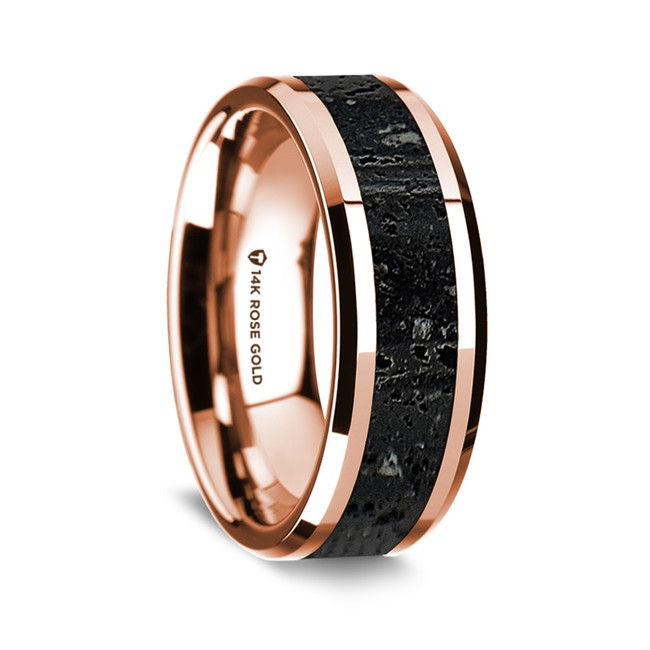 Iolaus Polished 14K Rose Gold Wedding Band with Lava Inlay from Vansweden Jewelers