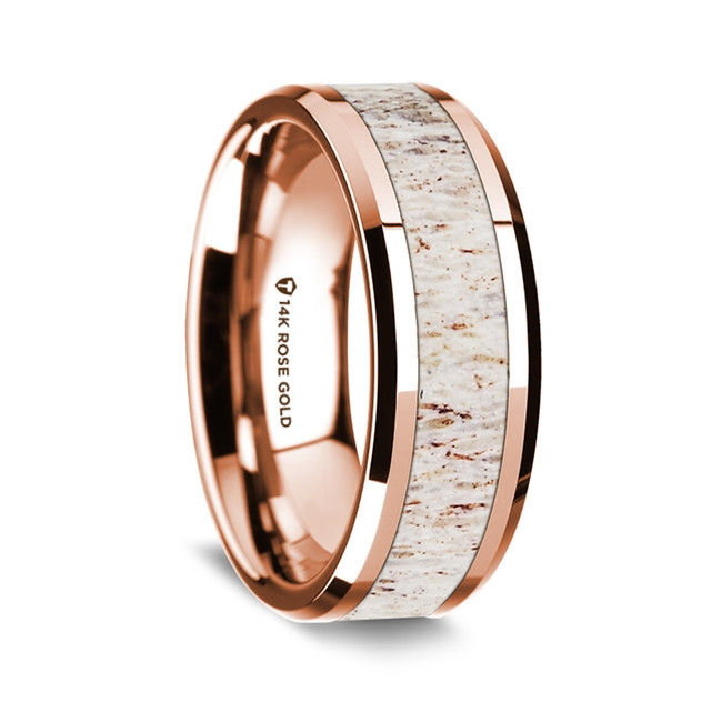 Antisthenes Polished 14K Rose Gold Wedding Band with White Deer Antler Inlay from Vansweden Jewelers