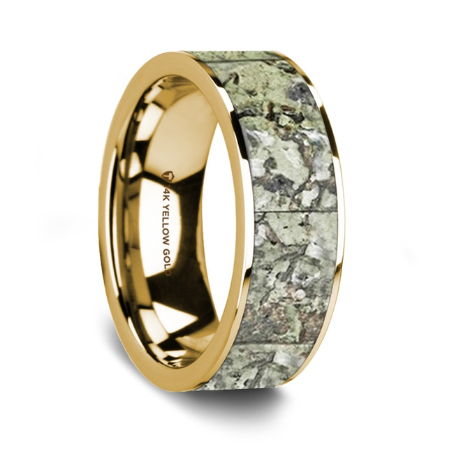 Euphemus 14K Yellow Gold Wedding Band with Green Dinosaur Bone Inlay from Vansweden Jewelers