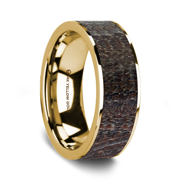 Cleidemus 14K Yellow Gold Wedding Band with Dark Deer Antler Inlay from Vansweden Jewelers