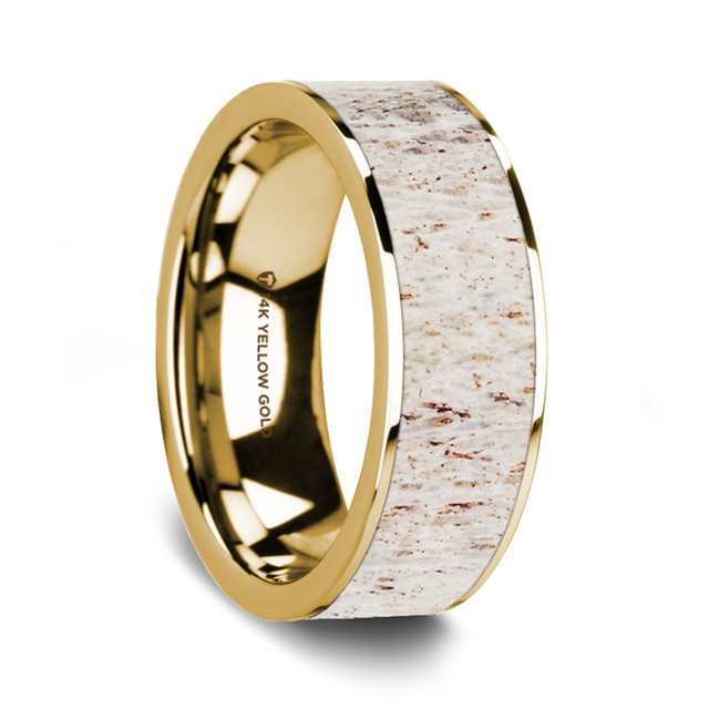 Bendis 14K Yellow Gold Wedding Band with White Deer Antler Inlay from Vansweden Jewelers