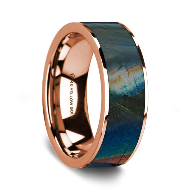 Attalus 14K Rose Gold Wedding Band with Spectrolite Inlay from Vansweden Jewelers