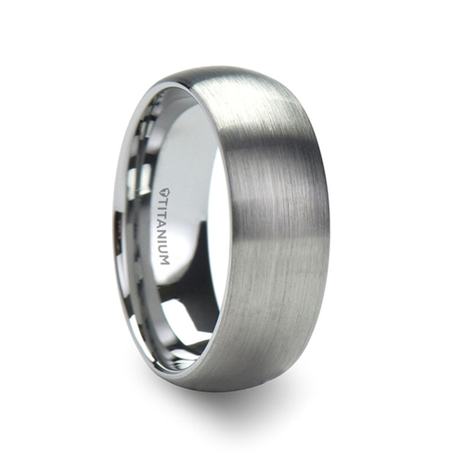 Theagenes Men's Titanium Brushed Domed Wedding Band from Vansweden Jewelers