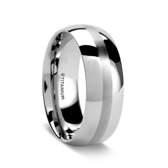 Dio Domed Titanium Ring with Brushed Stripe from Vansweden Jewelers