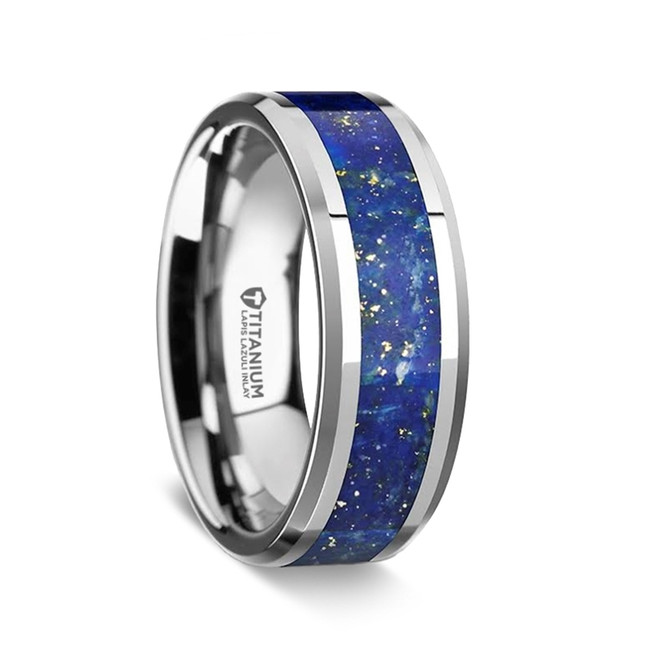 Melanthius Men's Titanium Wedding Band with Blue Lapis Lazuli Inlay from Vansweden Jewelers