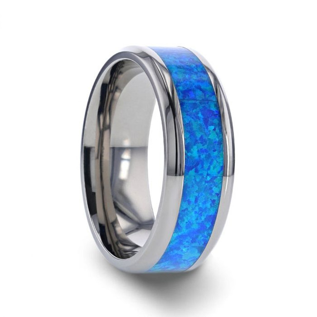 Ulysses Titanium Ring with Blue Green Opal Inlay from Vansweden Jewelers