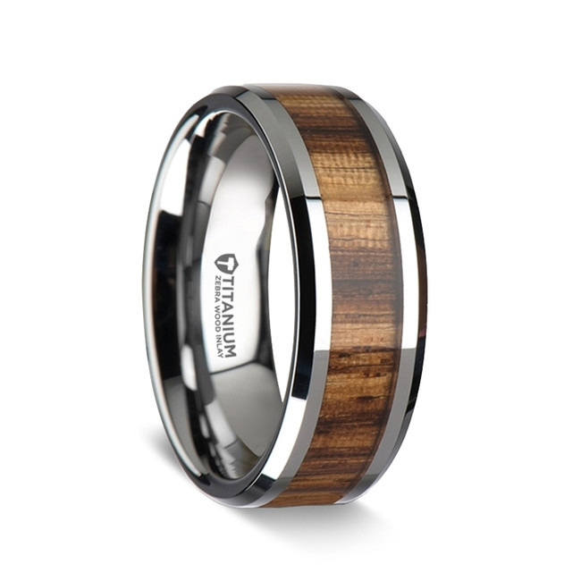 Aglaonike Titanium Ring with & Real Zebra Wood Inlay from Vansweden Jewelers