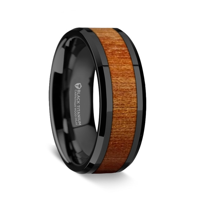 Aenesidemus Black Titanium Ring with Carpathian Wood Inlay from Vansweden Jewelers