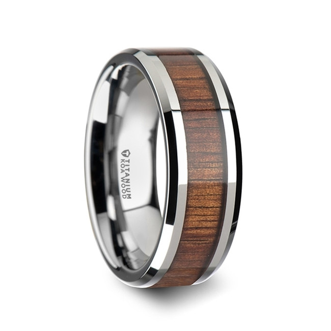 Adrianus Polished Titanium Men's Wedding Band with Koa Wood Inlay from Vansweden Jewelers