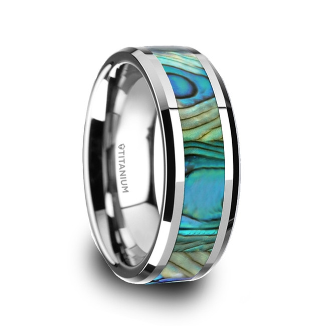 Agathotychus Polished Titanium Men's Wedding Band with Mother Of Pearl Inlay from Vansweden Jewelers