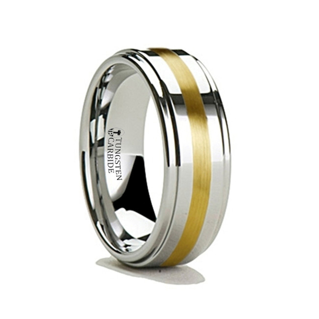 Amalthaea Raised Center Tungsten Carbide Ring with Gold Inlay from Vansweden Jewelers