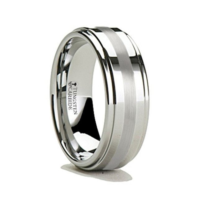 Antiphon Silver Inlaid Tungsten Carbide Ring with Raised Center from Vansweden Jewelers