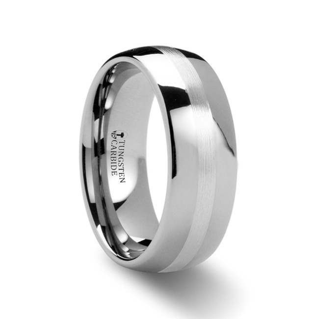 Pan Domed Tungsten Carbide Ring with Palladium Inlay from Vansweden Jewelers