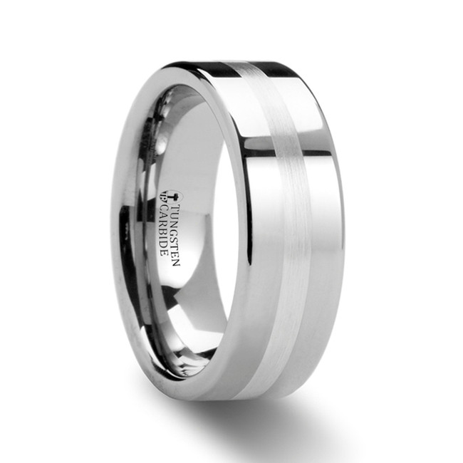 Asclepiodotus Flat Tungsten Carbide Ring with Palladium Inlay from Vansweden Jewelers