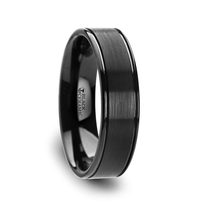 Anaxidamus Flat Brushed Center Black Ceramic Wedding Band with Dual Offset Grooves & Polished Edges from Vansweden Jewelers