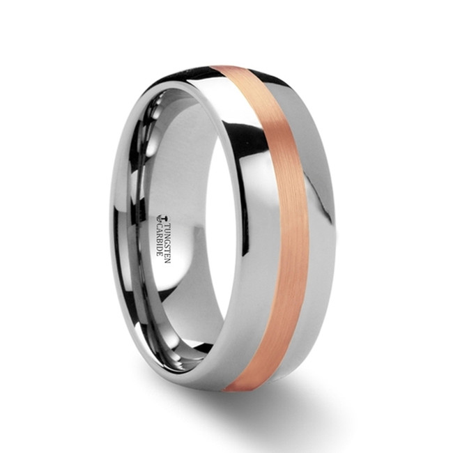 Aretaeus Rounded Tungsten Carbide Ring with Rose Gold Inlay from Vansweden Jewelers
