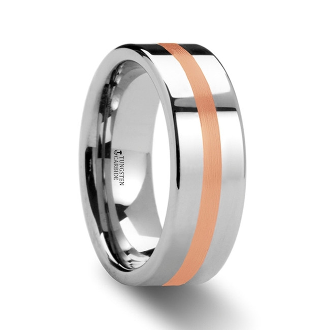 Aeropus Flat Tungsten Carbide Ring with Rose Gold Inlay from Vansweden Jewelers