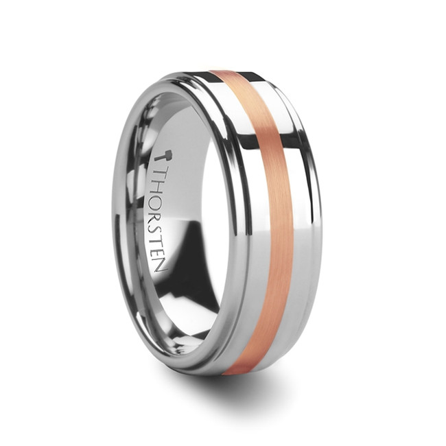 Phidias Rose Gold Inlaid Tungsten Carbide Ring with Raised Center from Vansweden Jewelers