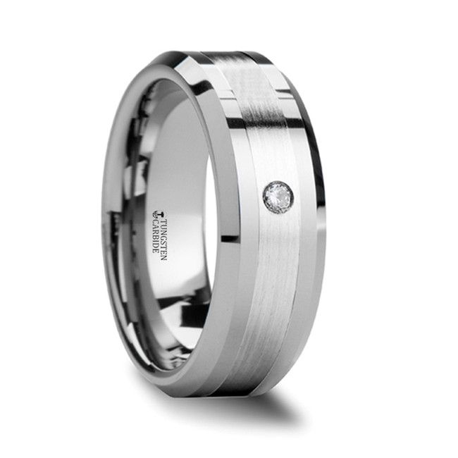 Callistratus Beveled Tungsten Carbide Ring with Palladium Inlay & Diamond from Vansweden Jewelers
