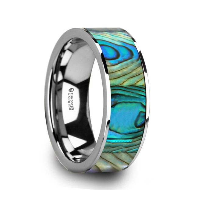 Anius Tungsten Men's Flat Wedding Band with Mother Of Pearl Inlay & Polished Finish from Vansweden Jewelers