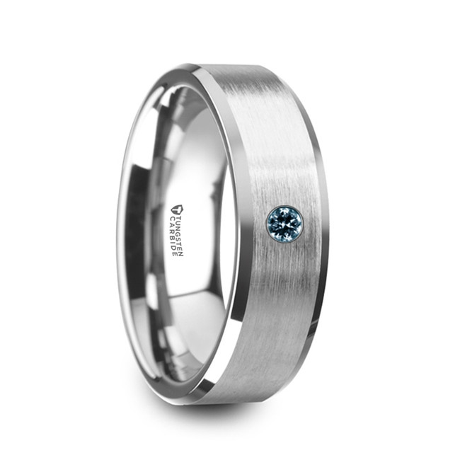 Timoleon Flat Brushed Men's Tungsten Wedding Band with Blue Diamond from Vansweden Jewelers