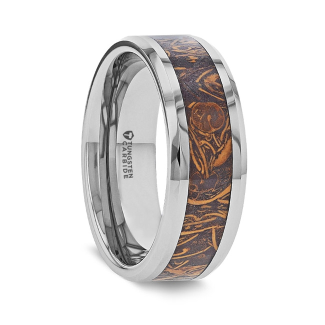 Lysimache Tungsten Men's Wedding Ring with Sanskrit Stone Inlay from Vansweden Jewelers
