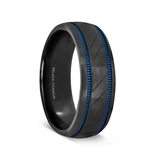 Dorissus Black Titanium Brushed Men's Wedding Band with Blue Milgrain Grooves from Vansweden Jewelers