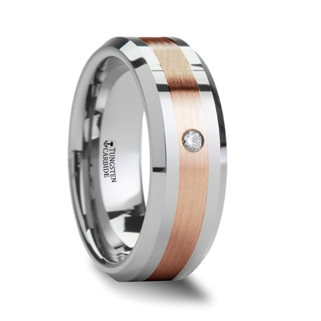 Isaeus Beveled Tungsten Carbide Ring with Diamond & Rose Gold Inlay from Vansweden Jewelers