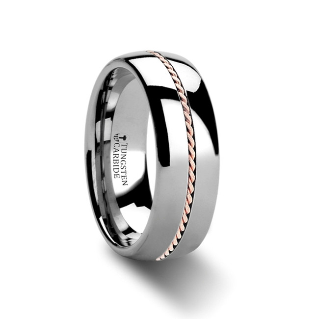 Epilycus Domed Tungsten Wedding Band with Braided 14k Rose Gold Inlay from Vansweden Jewelers