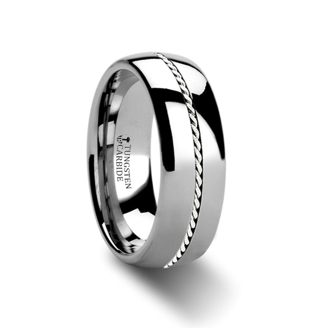 Theophrastus Domed Tungsten Wedding Band with Braided Palladium Inlay from Vansweden Jewelers