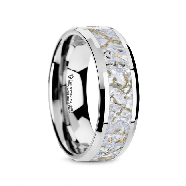 Thorax Tungsten Carbide Men's Wedding Band with White Dinosaur Bone Inlay from Vansweden Jewelers
