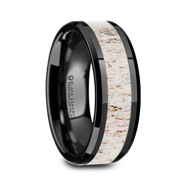 Strabo Black Ceramic Beveled Men's Wedding Band with Off-White Antler Inlay from Vansweden Jewelers