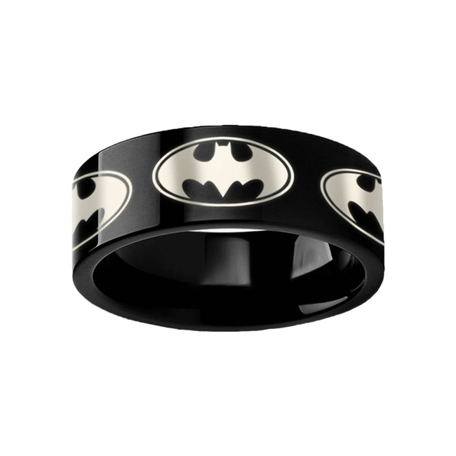 Batman Bat Symbol Engraved Black Tungsten Wedding Band from Vansweden Jewelers