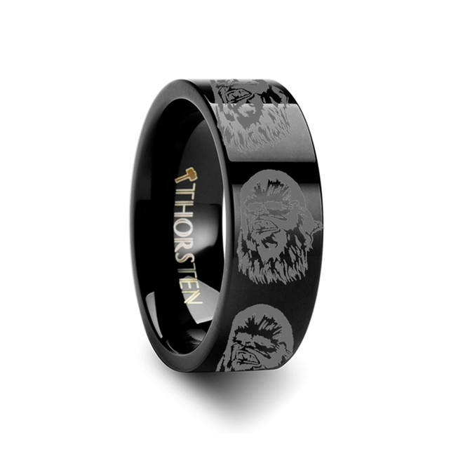Star Wars Chewbacca Engraved Black Tungsten Ring from Vansweden Jewelers